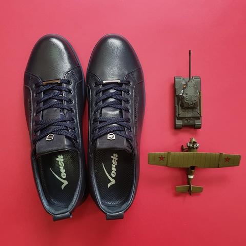 Мужские кожаные кроссовки синего цвета