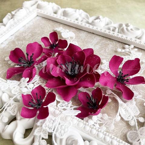 Набор тканевых цветов