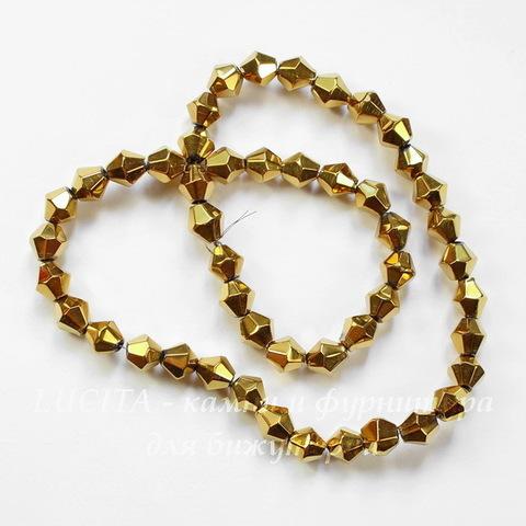 Бусина стеклянная, биконус, цвет - золотой, 6 мм, нить (Бусина стеклянная, биконус, цвет - золотой, 6 мм, нить)