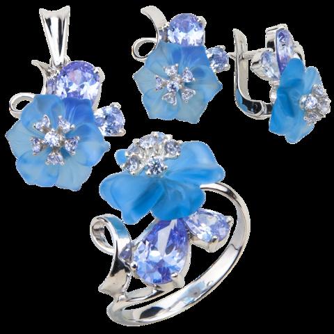 Комплект украшений с цветами из голубого кварца и кубическим цирконием цвета лаванды № 132