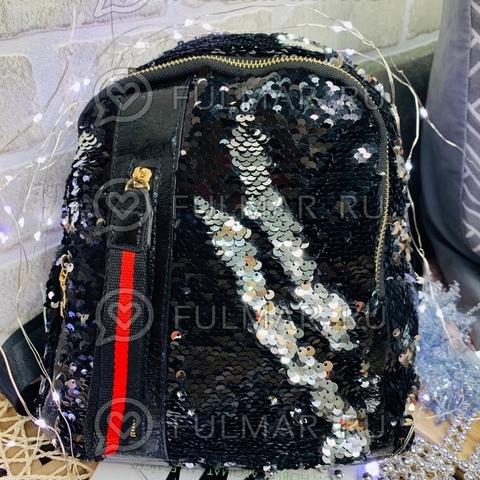 Рюкзак с пайетками меняющий цвет Чёрный-Серебристый с молнией LOLA маленький