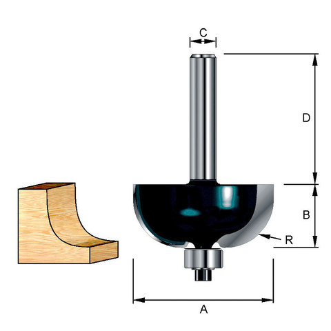 Фреза кромочная галтельная 15,5*32*9,5*8 мм; R=3 мм