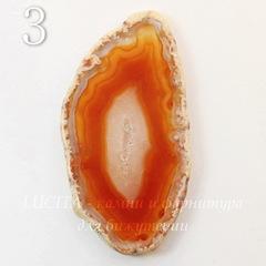 Срез Агата без отверстия (тониров), цвет - коричневый, 54-69 мм
