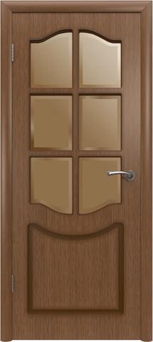 Дверь Владимирская фабрика дверей Классика 2ДР3, стекло бронза художественное, цвет орех, остекленная