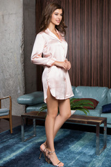 Шелковая рубашка женская домашняя цвета пудры