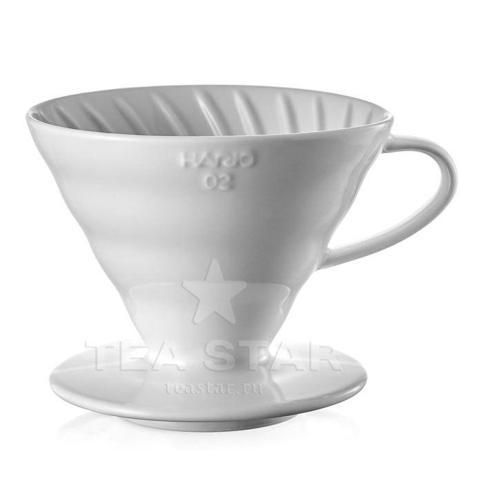 Кофейные аксессуары Воронка Hario 60, VDC-02w, керамическая для приготовления кофе, белая Hario_V60-VDC-02w-1.jpg
