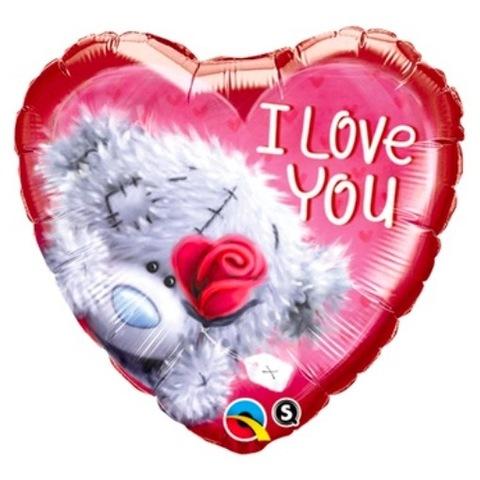 Воздушный шар Сердце Мишка I Love You, Роза красная, 46 см