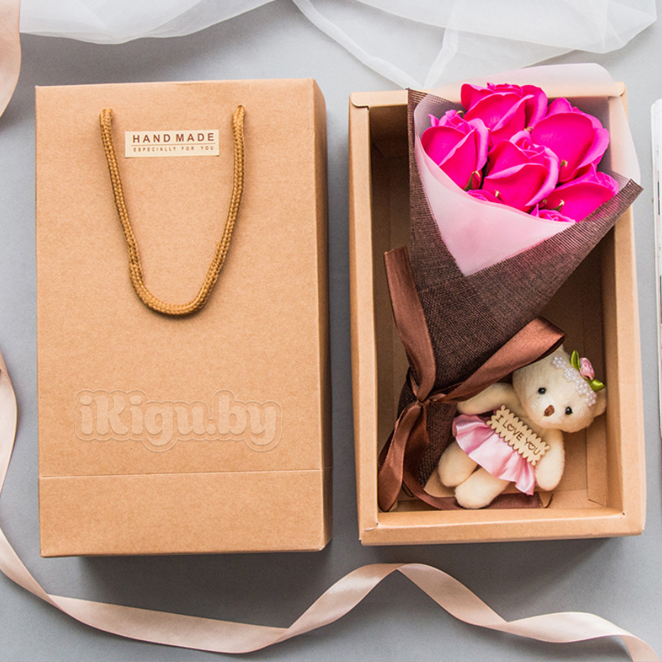 """Подарки на 8 марта Ароматизированное мыло """"Мишка С Букетом Роз"""" мишка_розовый.jpg"""