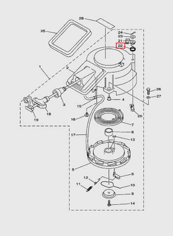 Пружина стопора включения стопора  для лодочного мотора T15, OTH 9,9 SEA-PRO (7-22)