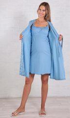 Евромама. Комплект халат и сорочка для кормления голубой, большие размеры