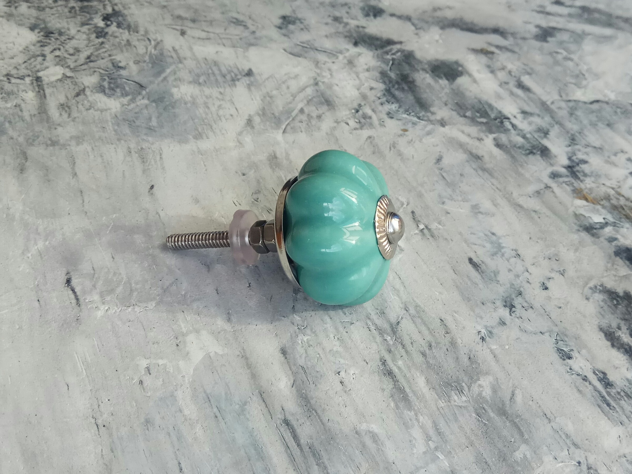 Ручка мебельная керамическая бирюзовая, арт. 00001093