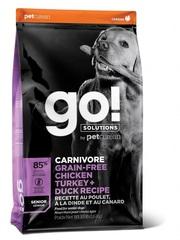 Корм беззерновой для пожилых собак всех пород, GO! Natural holistic, GO! CARNIVORE GF Chicken,Turkey + Duck Senior Recipe DF, с 4 видами мяса: индейка, курица, лосось, утка