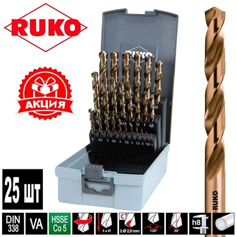 Набор сверл по металлу 1-13мм 25шт DIN338 HSSE-Co5 Ruko 215215RO (АКЦИЯ)