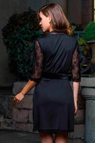 Элегантный мягкий приятный женский итальянский черный халат кимоно Mia-Mia до колена с поясом с кружевом вид сзади