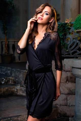 Элегантный мягкий приятный женский итальянский черный халат кимоно Mia-Mia до колена с поясом с кружевом