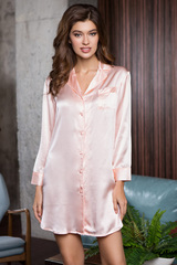 Шелковая рубашка средней длины Rosemary цвета пудры