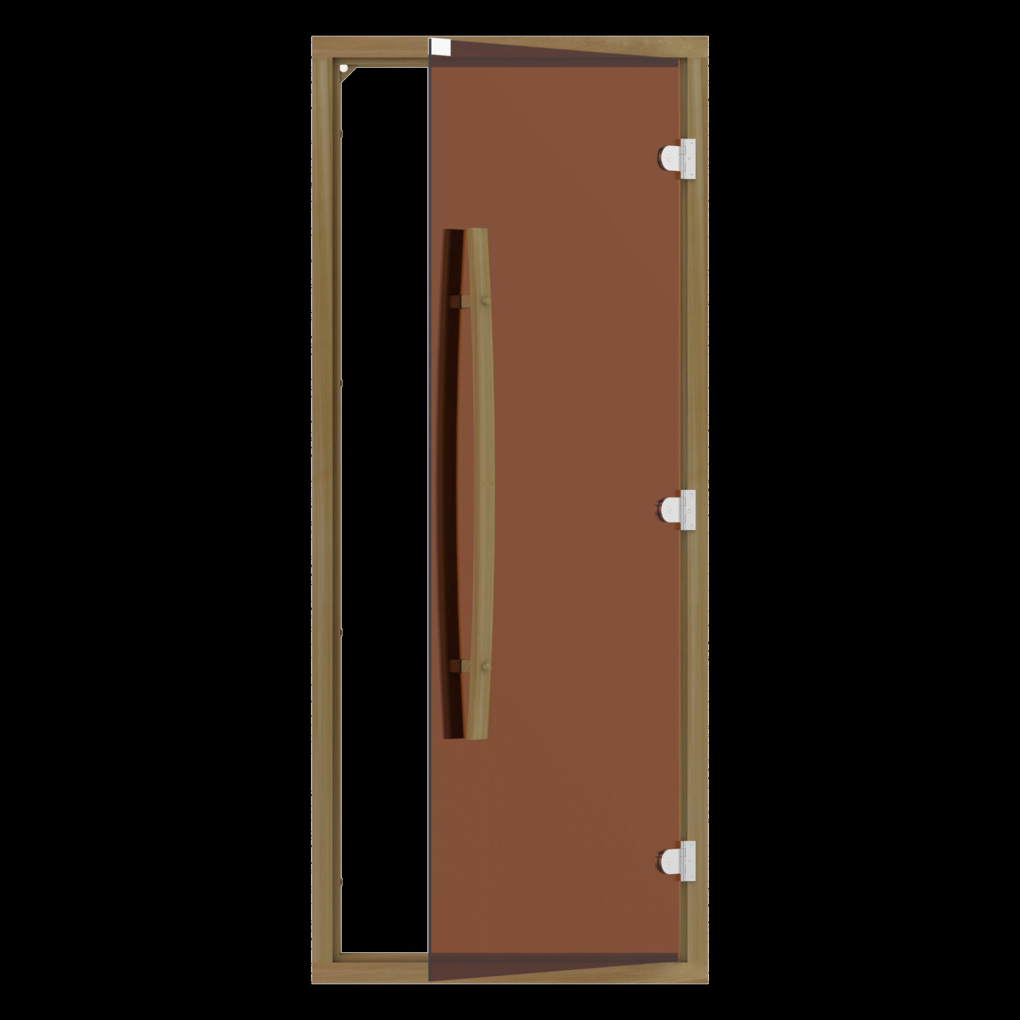 Двери: Комплект двери с бронзовым стеклом SAWO 742-4SGD-1 (с порогом, кедр, изогнутая ручка) двери для сауны ярославль