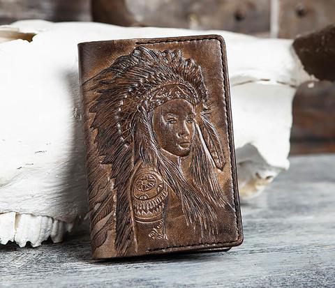 BC158 Кожаная обложка с индианкой, ручное тиснение