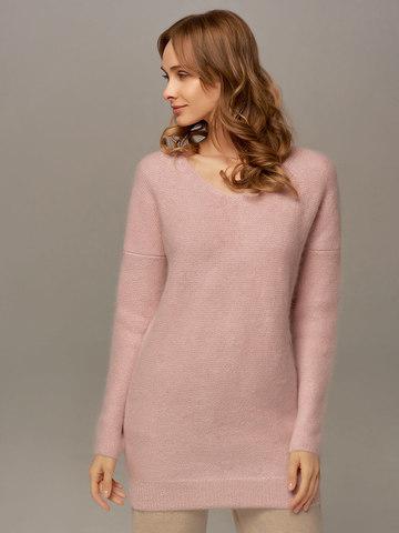 Женский удлиненный джемпер светло-розового цвета с V-образным вырезом - фото 4