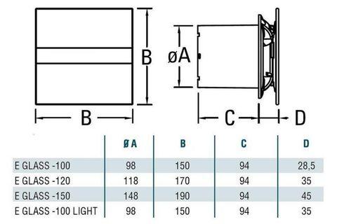 Накладной вентилятор Cata E 100 GST Silver (таймер) + обратный клапан