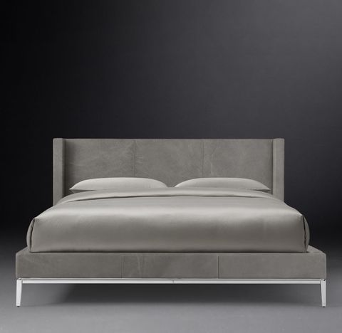 Italia Shelter Non-tufted Leather Platform Bed