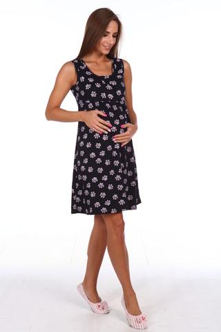 Мамаландия. Сорочка для беременных и кормящих с кнопками, лапки/темно-синий