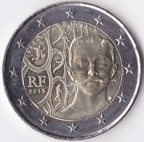 Франция 2 евро 2013 Пьер де Кубертен