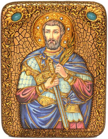 Инкрустированная Икона Святой мученик Анатолий Никомидийский 20х15см на натуральном дереве, в подарочной коробке