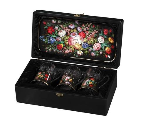 Zhostovo tea glass holders in wooden box - set of 3 tea glass holders and hand forged tray SET04D-667785841