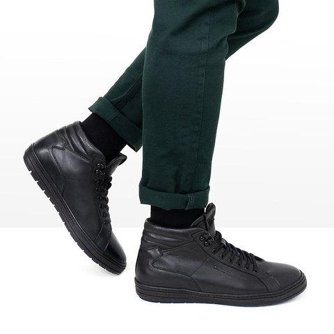 Зимние мужские ботинки на шнурках с подкладкой из натурального меха