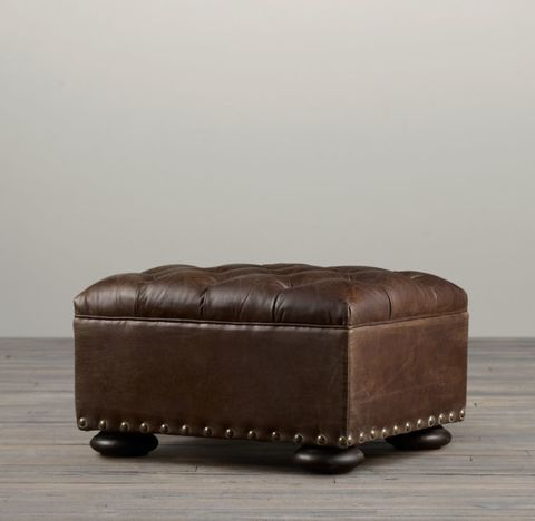 Churchill Leather Ottoman with Nailheads