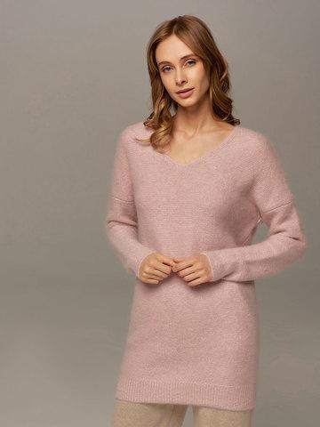 Женский удлиненный джемпер светло-розового цвета с V-образным вырезом - фото 3