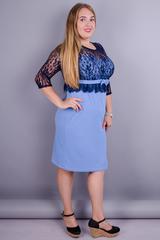 Романтика. Нарядное платье для больших размеров. Голубой+синий.