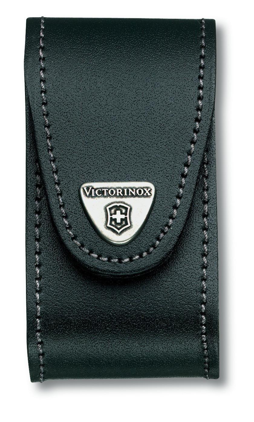 Набор Victorinox - нож SwissChamp красного цвета с чёрным чехлом из натуральной кожи. Упаковка - блистер (1.6795.LB1) - Wenger-Victorinox.Ru