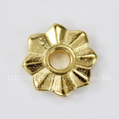 """Элемент под заклепку TierraCast """"8 Point"""" 10 мм (цвет-золото)"""