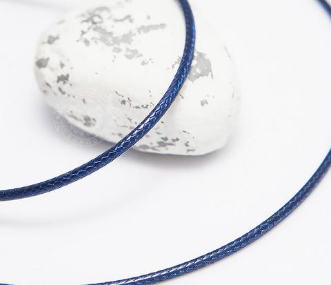 Гладкий шнурок на кожу их текстиля синего цвета (55 см)