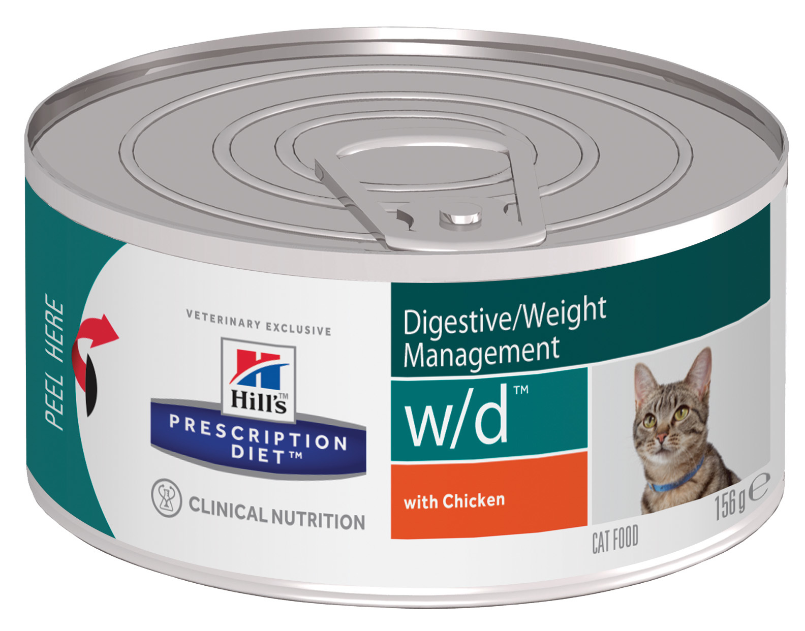 купить хиллс Hill's™ Prescription Diet™ Feline w/d™ Digestive/Weight Managemen with Chicken консервы (влажный корм)для взрослых кошек, диетический рацион при сахарном диабете, запорах, колитах