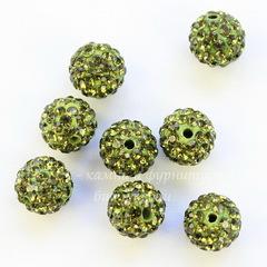 Бусина для шамбалы с фианитами, цвет - оливковый, 10 мм