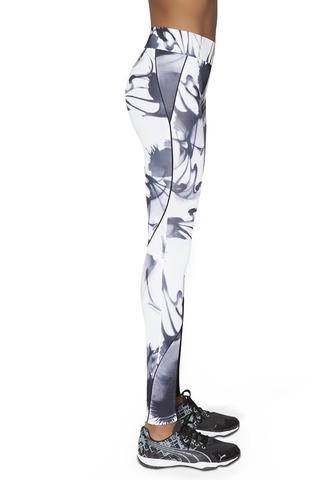 Спортивные легинсы черно-белые с рисунком