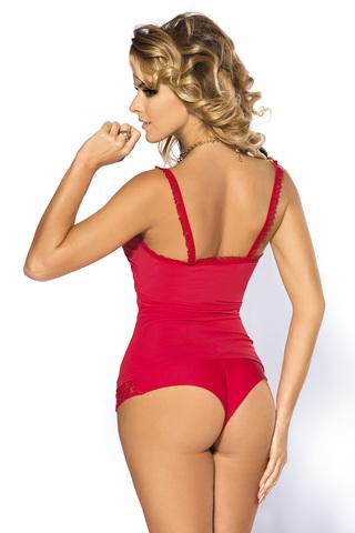 Красный эротический комплект белья из топа и шорт