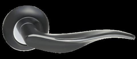 Фурнитура - Ручка Дверная  Renz Энна, цвет чёрный/хром ЦАМ (гарантия - 12 месяцев)