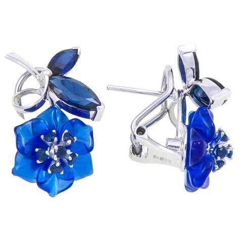 Серьги с цветами из синего кварца и сапфиром Арт.2222сс