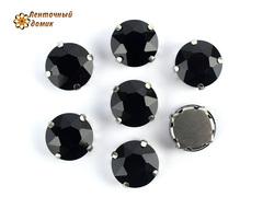 Камень круг в цапах черный 12 мм