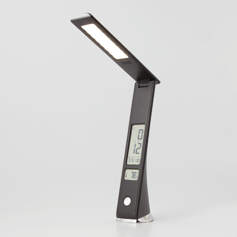 Светодиодная настольная лампа с часами 80504/1 черный