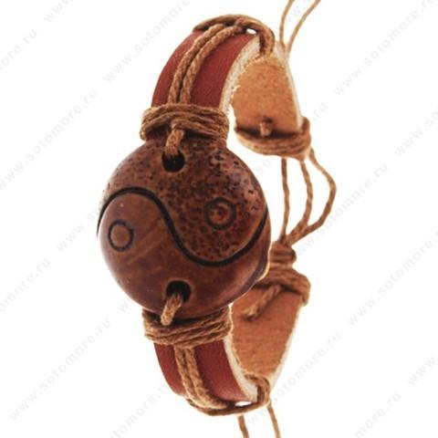 Браслет на руку кожанный с перетяжкой декор кость