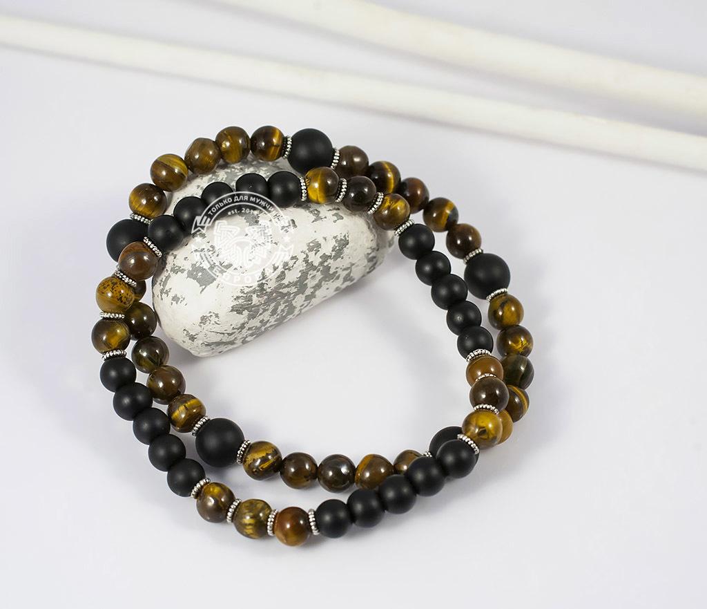 Boroda Design, Яркий двойной браслет из тигрового глаза и шунгита. «Boroda Design»