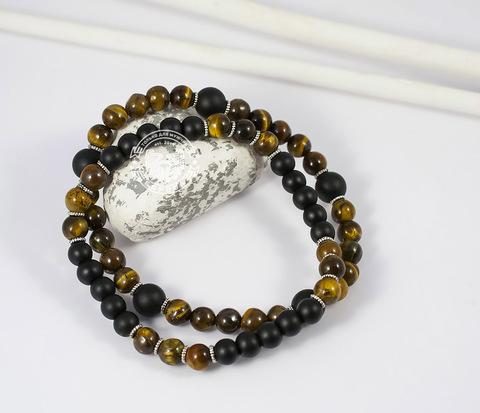 Яркий двойной браслет из тигрового глаза и шунгита. «Boroda Design»
