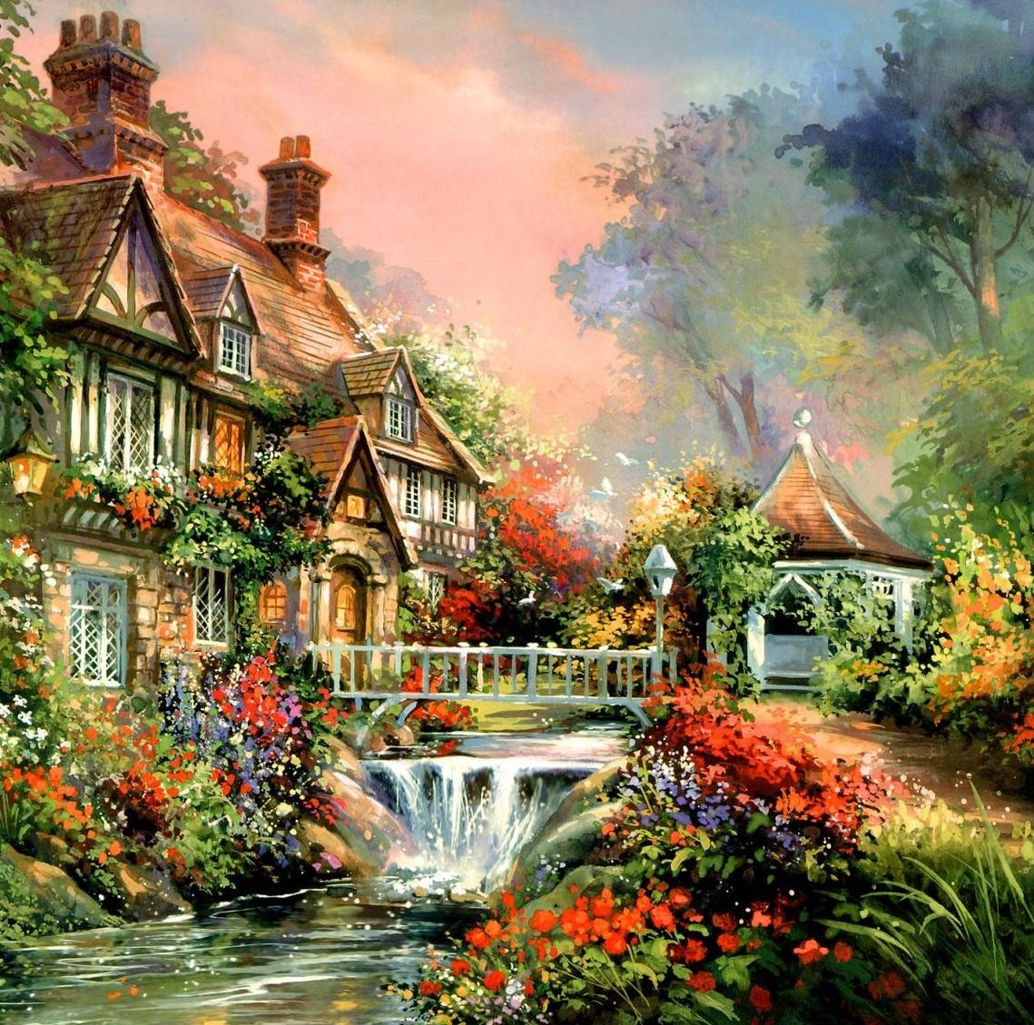 Картина раскраска по номерам 30x40 Дом с водопадом– купить ...
