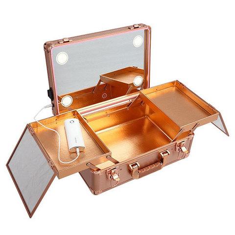 Бьюти кейс визажиста на колесиках (мобильная студия) LC019 Gold