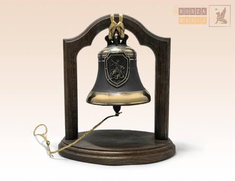 колокол Доблесть, Отвага, Честь - Георгий Победоносец на подставке из дуба